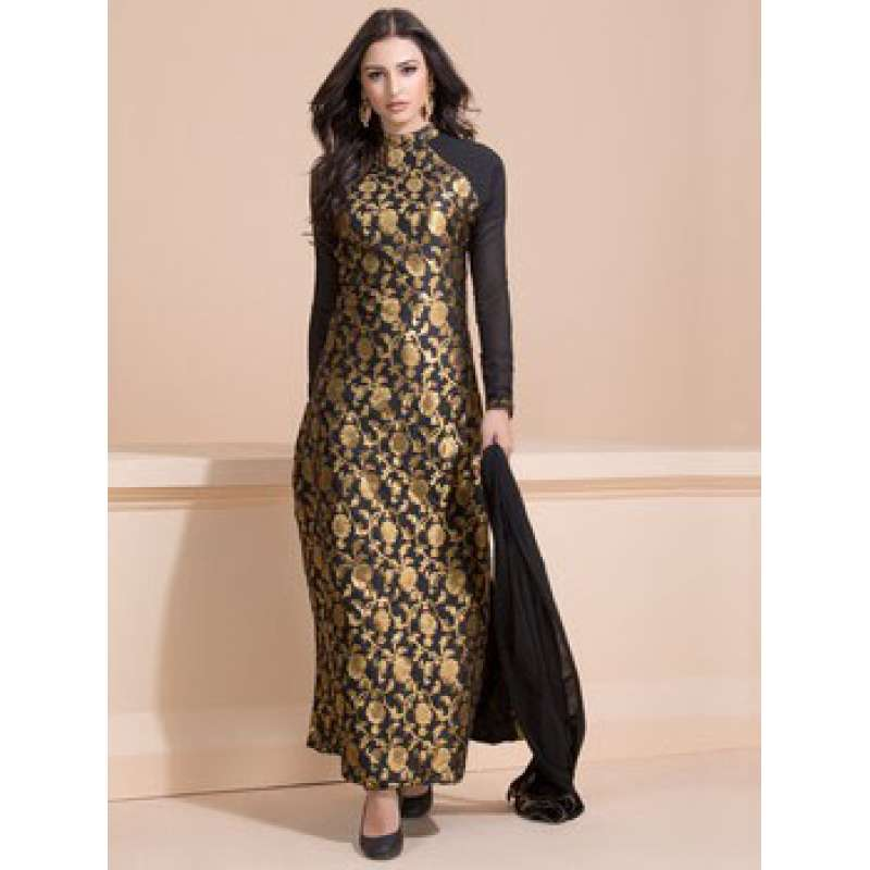 Black and Gold Brocade Dress Indian Party Suit