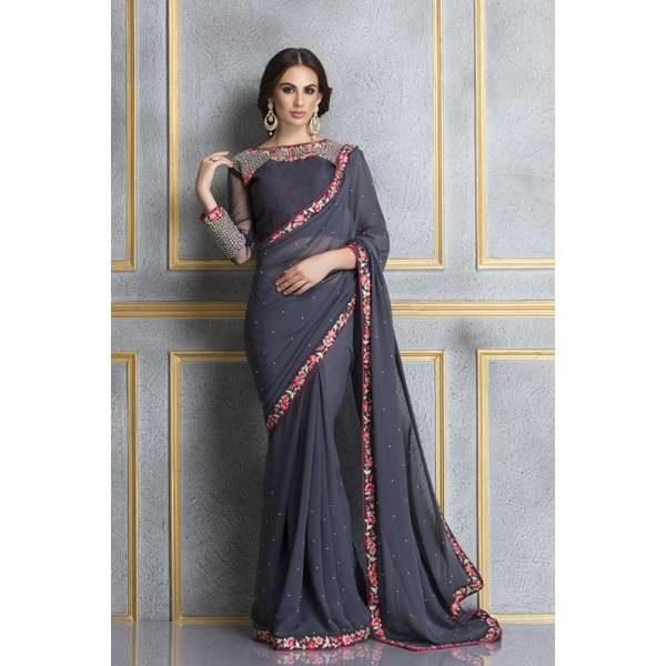 747a265160 ACS-63 GREY AND NAVY BLUE GEORGETTE EMBROIDERED SAREE
