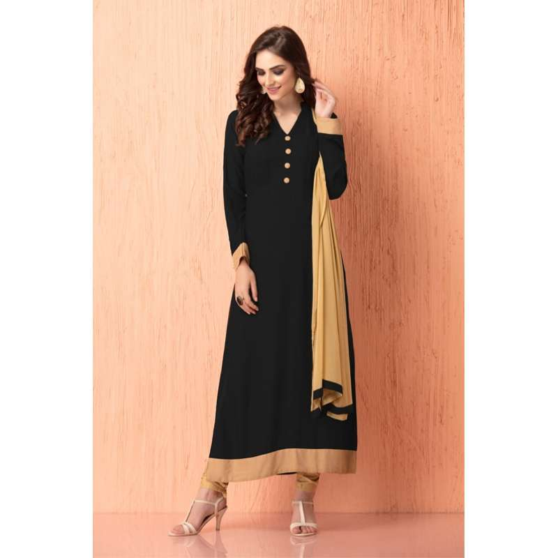 3f45548550 ac-112 black and beige georgette churidaar ready made indian suit