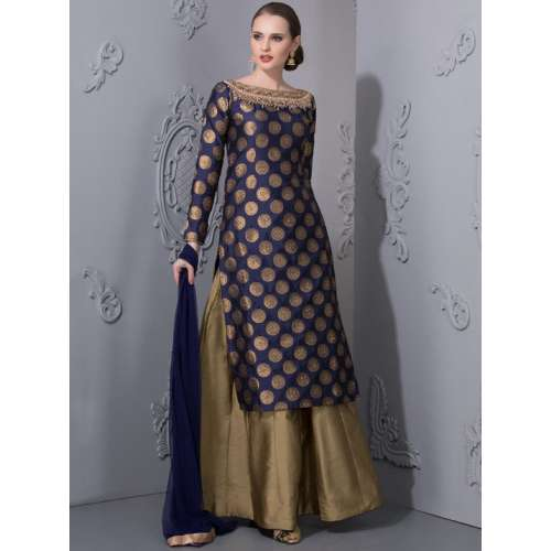Image result for navy blue brocade lehenga