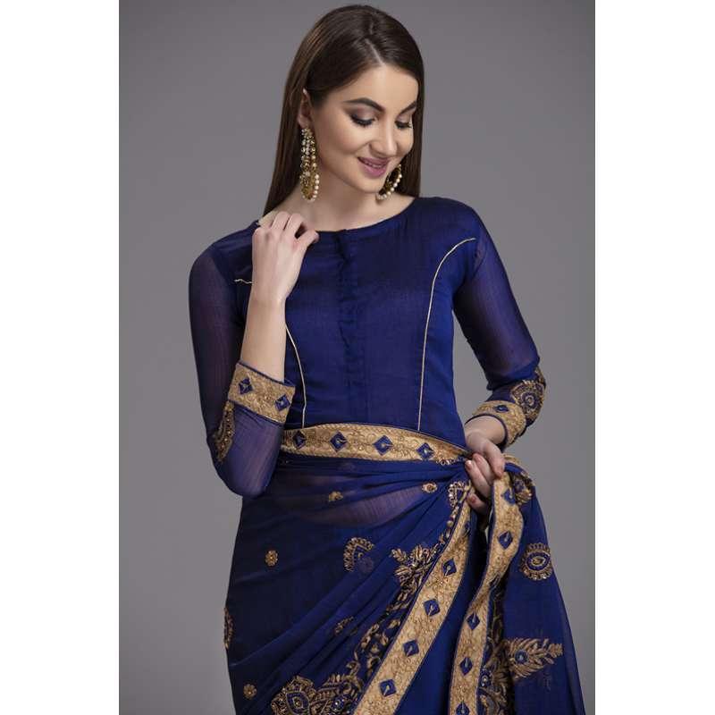 Luxury Royal Blue Indian Pakistani Wedding Saree