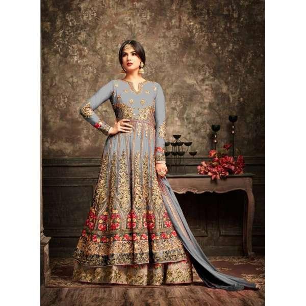 059b415614 Harbor Mist and Gold Wedding Wear Bridal Gown Anarkali Long Indian Dress
