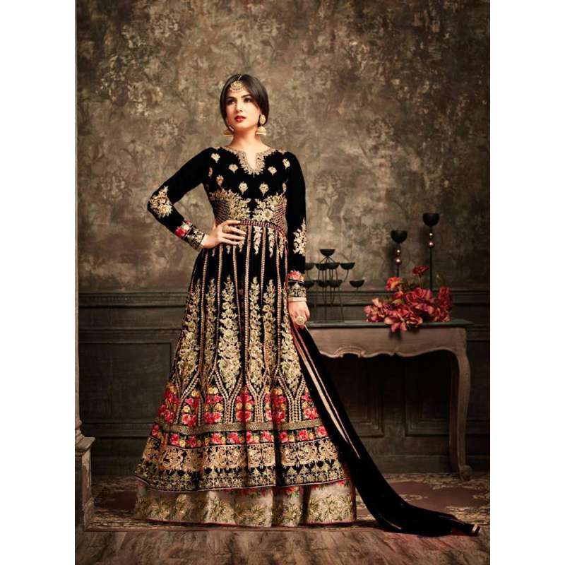 6efd50915c Black and Gold Wedding Wear Bridal Gown Anarkali Indian Long Dress