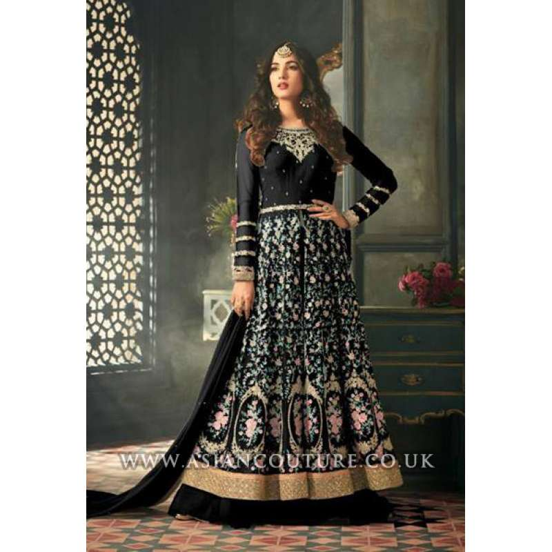 849411211b Black Indian Party Wear Asian Anarkali Wedding Bridal Gown Dress