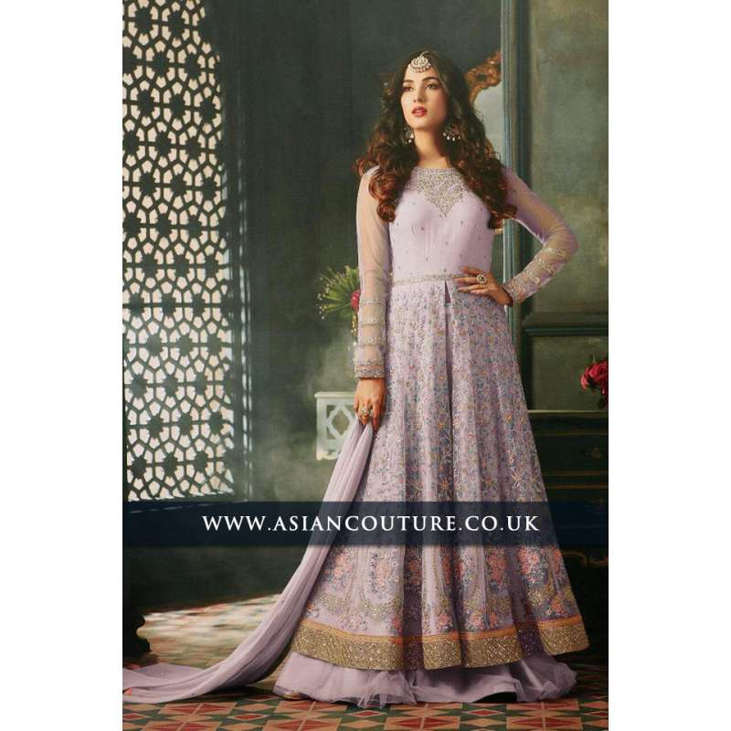 Lime Purple Indian Party Wear Asian Anarkali Wedding Bridal Gown Dress