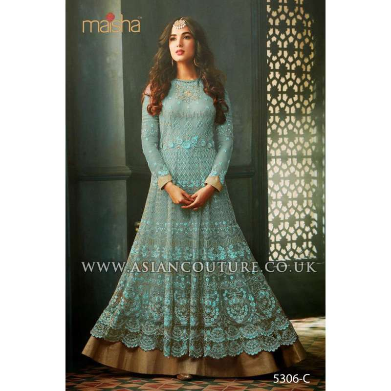 f53cf0212b8f Turquoise Indian Party Wear Asian Anarkali Wedding Bridal Dress