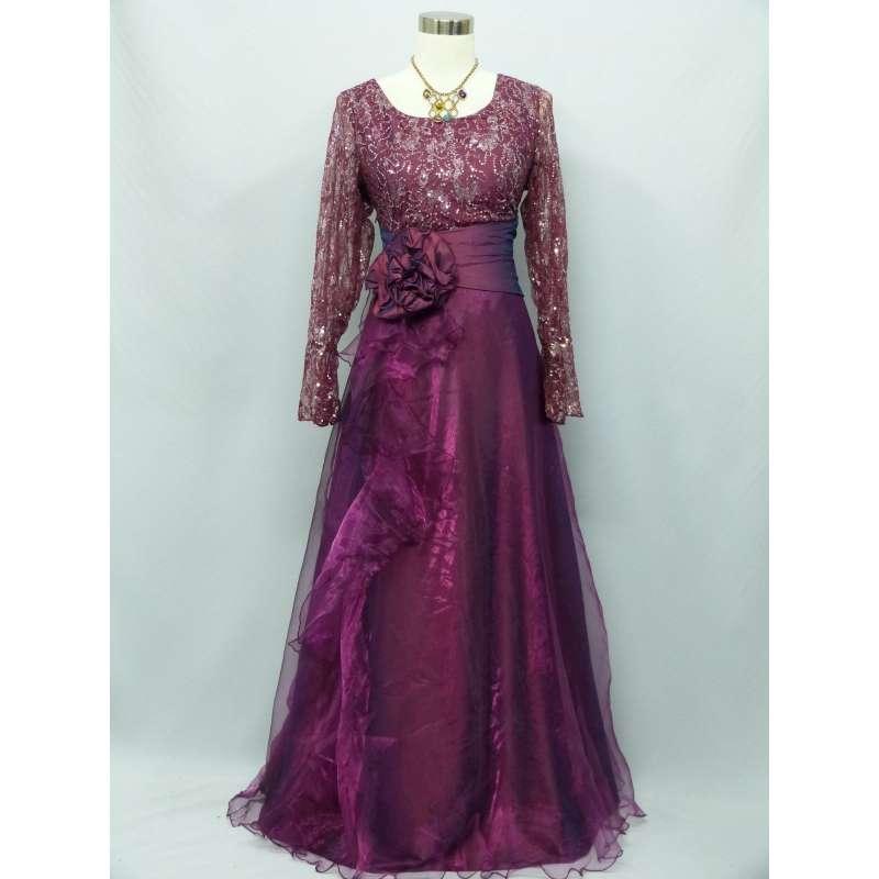 Cherlone Purple Long Sleeve Wedding/Evening Ballgown Formal ...