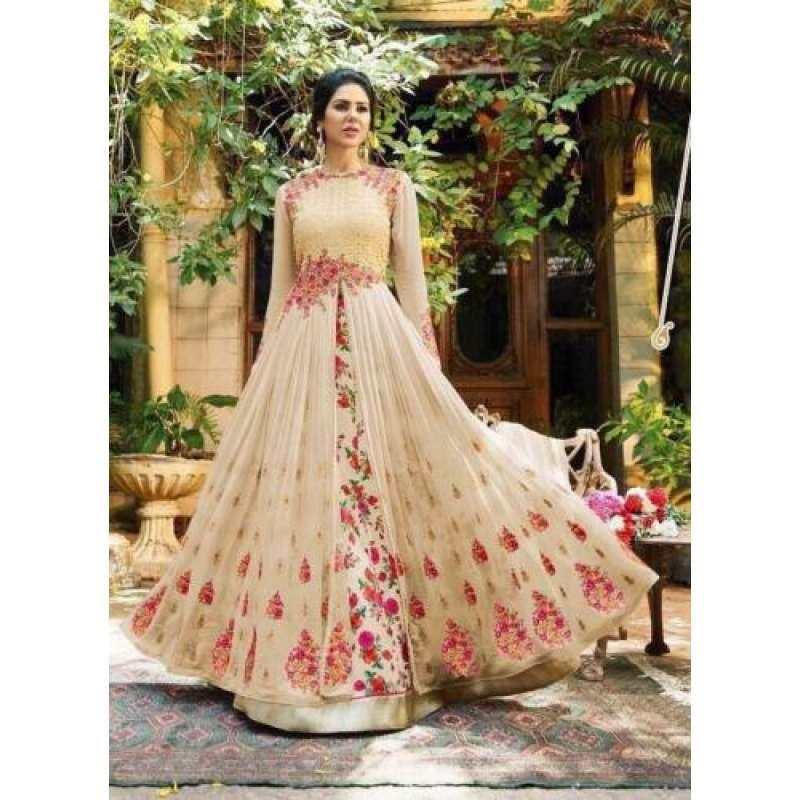 471f48fba1 PEACH TRADITIONAL INDIAN ANARKALI LEHENGA DRESS