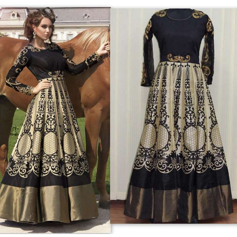 c12cff44d6 BLACK FLORAL PARTY WEAR DESIGNER INDO WESTERN STYLE ANARKALI GOWN