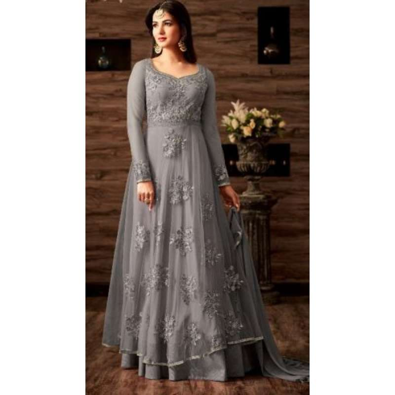 a7695f18ec GREY TRADITIONAL INDIAN ANARKALI LEHENGA DRESS
