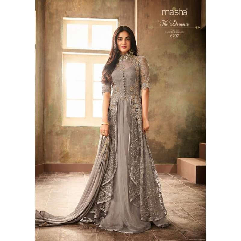 Lavish New Grey Pakistani Wedding Party Anarkali Gown,Teenage Girl Fancy Pakistani Maxi Dresses For Weddings
