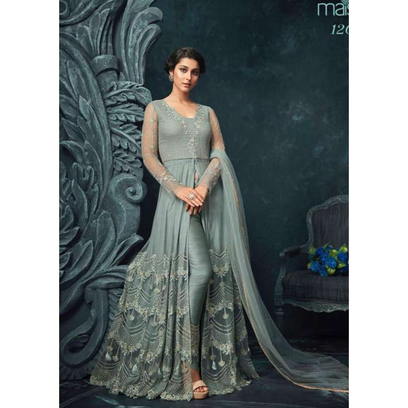 4fefaf5b47a939 TURQUOISE HEAVY EMBROIDERED INDIAN WEDDING SLIT GOWN