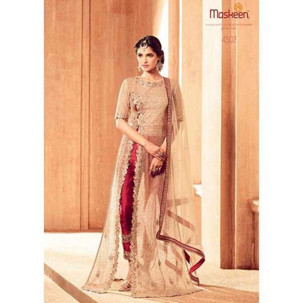 e6287355fd 4502 BROWN AND RED MAISHA MASKEEN DESIGNER WEDDING WEAR FLOOR LENGTH DRESS