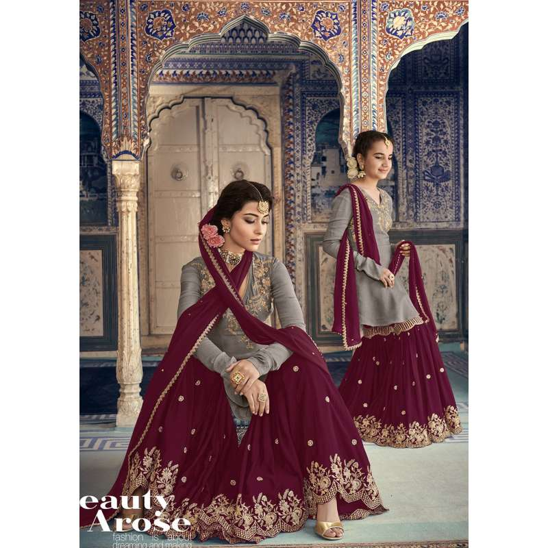 bf03129c79 Dashing Grey and Plum Indian Pakistani Party Wear Mother and Daughter Eid  Dress