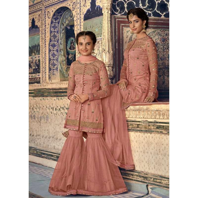 beae69bcab CORAL PEACH INDIAN PAKISTAN WEDDING MOTHER DAUGHTER GHARARA DRESS