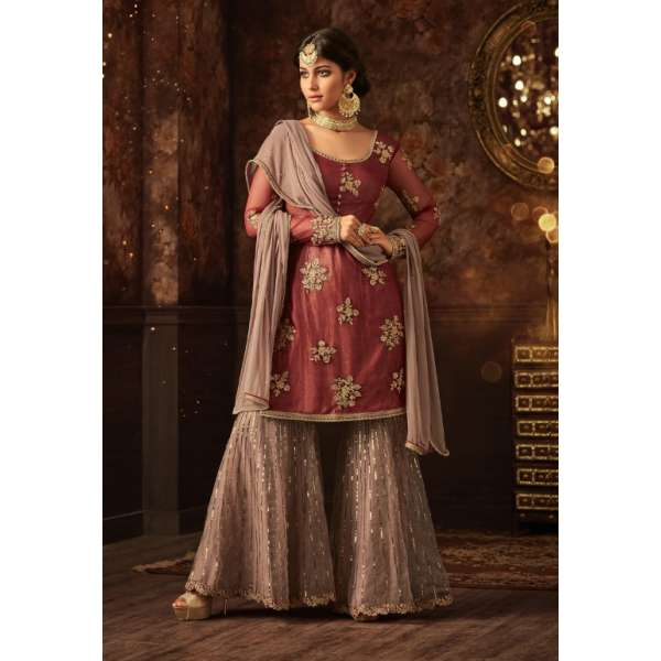1b3151acbe05 MAROON AND BEIGE INDIAN WEDDING GHARARA SEMI STITCHED SUIT ( DELIVERY IN 2  WEEKS )