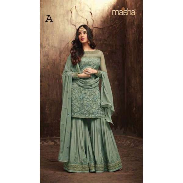 eb5a80c3a0 GREEN INDIAN WEDDING SHARARA GHARARA SUIT SEMI STITCHED ( DELIVERY IN 2  WEEKS )