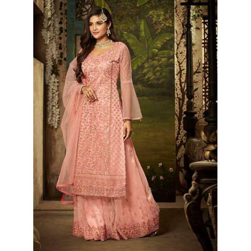 Heavy Work Pakistani Net Sharara Kameez Designer Wedding Party Wear Dress ROs2