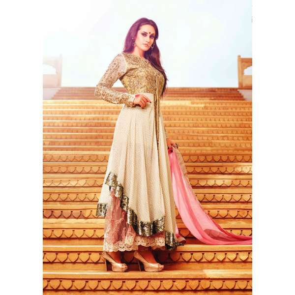 6cde75958f 35006 BROWN AND PINK MOHINI GLAMOUR PARTY WEAR SEMI STITCHED DRESS