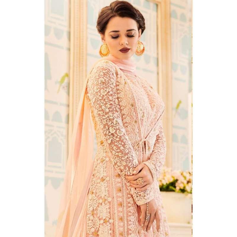 2415cee753 LIGHT PEACH INDIAN & PAKISTANI BRIDAL WEDDING WEAR ANARKALI SUIT