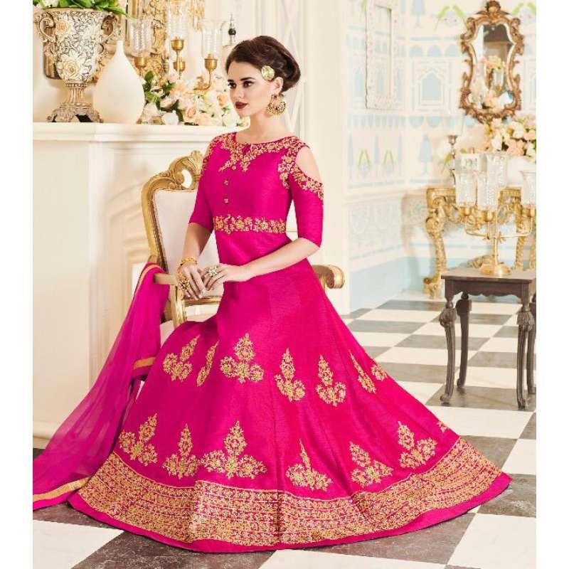 cf041b934f BRIGHT PINK INDIAN & PAKISTANI BRIDAL WEDDING WEAR ANARKALI SUIT