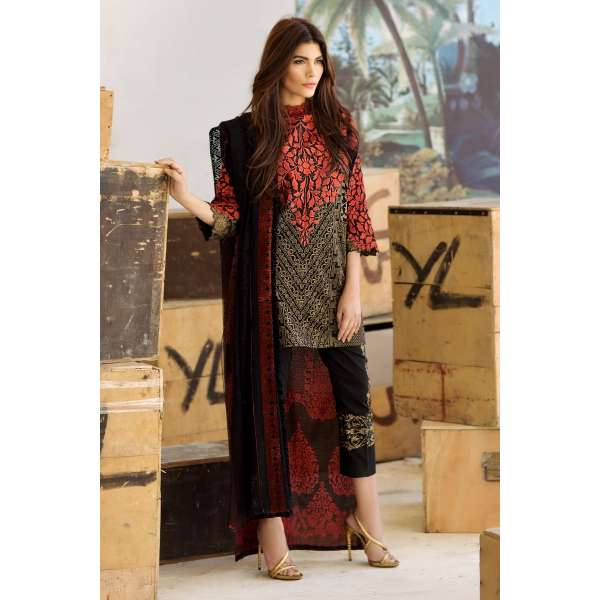 80b48a792be5 MAR17-09B BLACK SANA SAFINAZ EMBROIDERED READY MADE SUIT (REPLICA) -  PAKISTANI DESIGNER SUMMER SUITS 2017