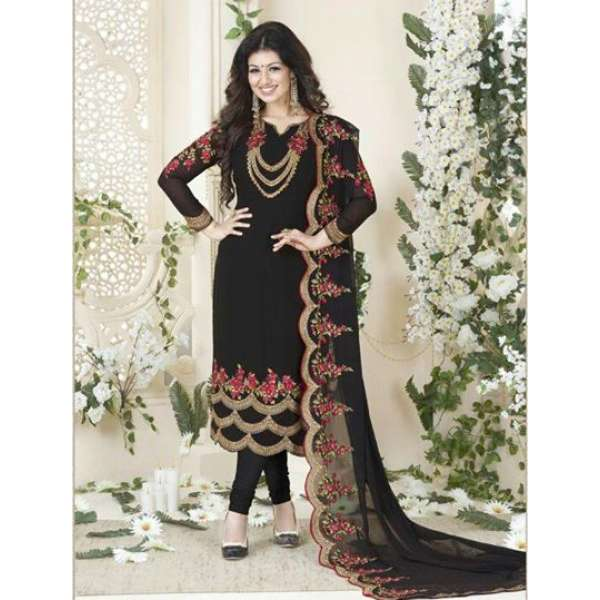 f9ad1229bdc 901-A BLACK AVON FASHIONISTA AYESHA TAKIA PARTY WEAR GEORGETTE SUIT (2  Weeks Delivery