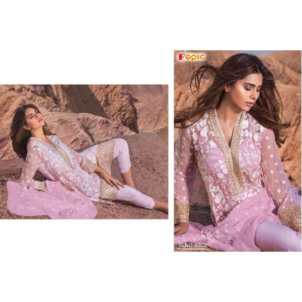 31f6c40b94 6005 PINK ROSEMEEN BY FEPIC EMBROIDERED GEORGETTE SALWAR SUIT