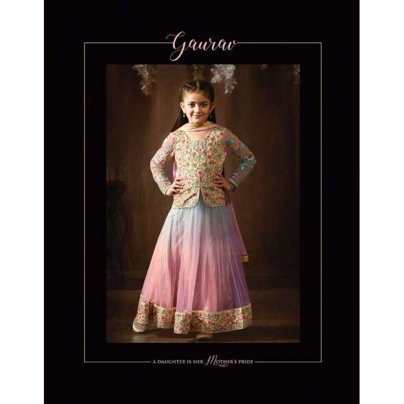 2d03a961cf 8076 BLUE PINK RAINBOW PARTY WEAR LENGHA SUIT FOR GIRLS