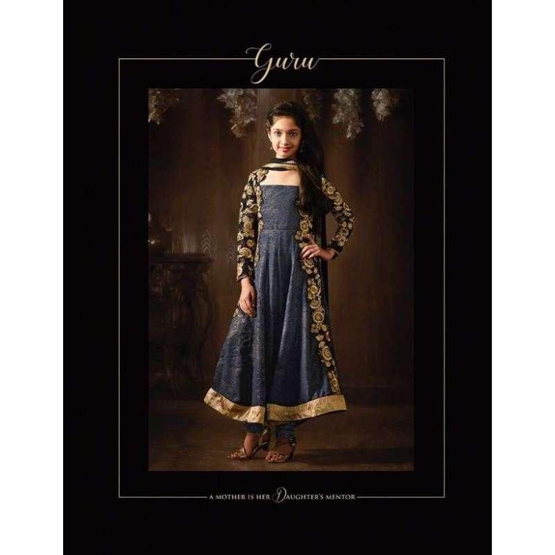 61e8ce180f 8079 GREY BLUE GIRLS INDIAN DESIGNER PARTY ANARKALI SUIT