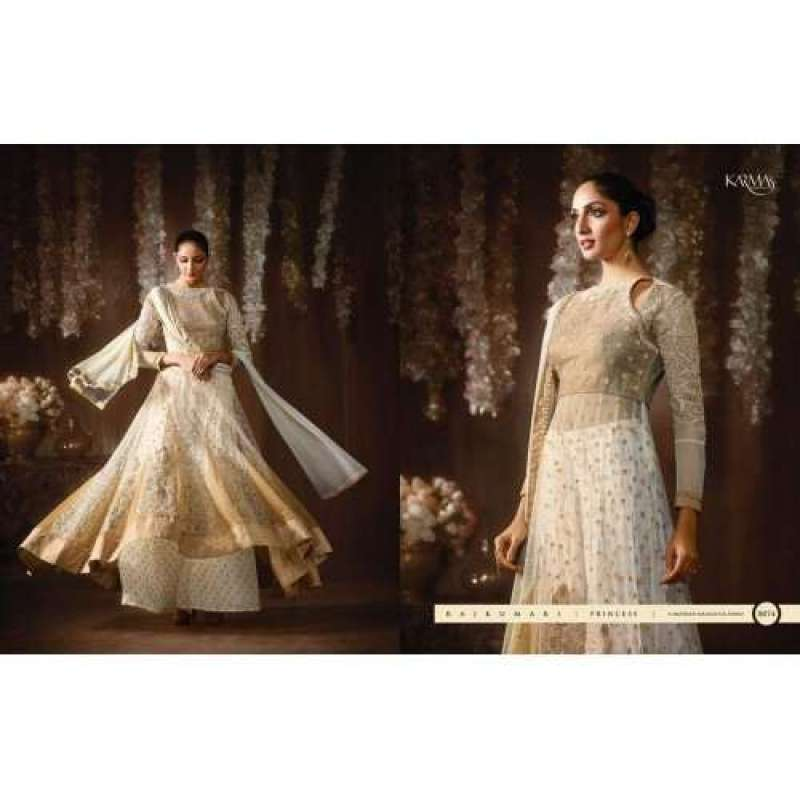 3dd236ffb4 8074 OFF WHITE KARMA NET FABRIC HEAVY EMBROIDERED PARTY WEAR INDIAN  DESIGNER ANARKALI SUIT