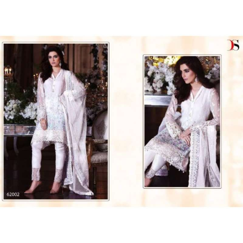 80c2e40448 BD-1001 WHITE MARIA.B. EMBROIDERED PARTY WEAR DRESS