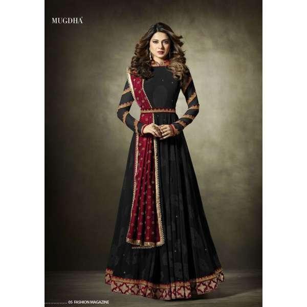 4f08ea7f1a 11019 Stunning Black Lycra Jacquard Semi Stitched Anarkali Suit With Velvet  Shawl