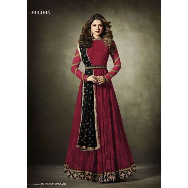 23bb1f6a42 11019 Stunning Red Lycra Jacquard Semi Stitched Anarkali Suit With Velvet  Shawl