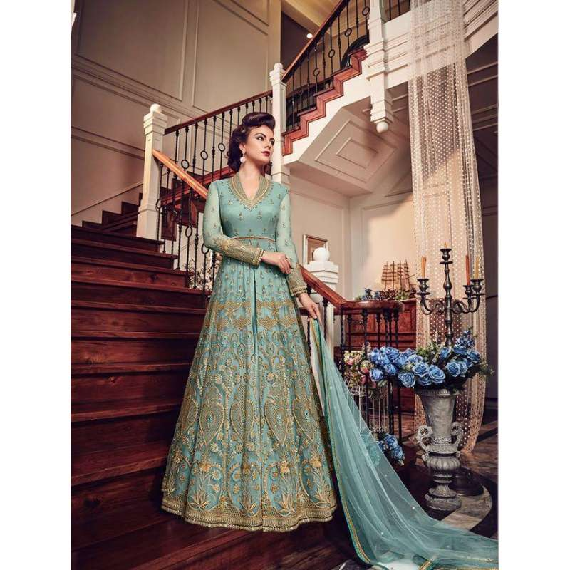 705c362ac02ff3 TURQUOISE BLUE HEAVY EMBROIDERED INDIAN WEDDING SLIT STYLE GOWN