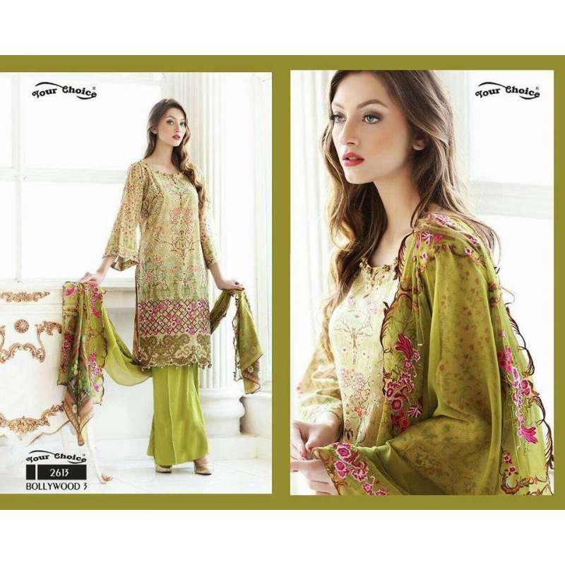 a32aa9690e 2613 green bollywood 3 by your choice pakistani cotton salwar kameez