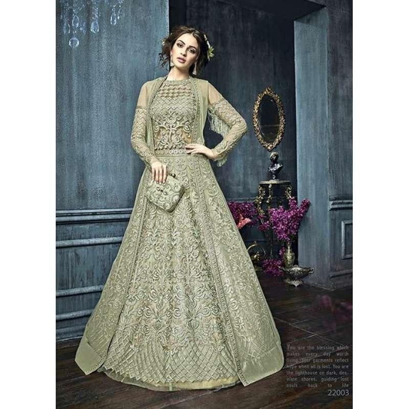 30e9053538 22003 GREEN ZOYA CELEBRITY HEAVY EMBROIDERED INDIAN BRIDAL WEDDING LEHENGA