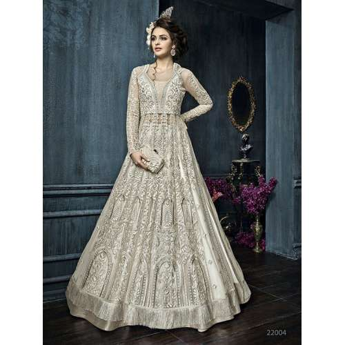 22004 WHITE ZOYA CELEBRITY HEAVY EMBROIDERED INDIAN BRIDAL WEDDING - White Indian Wedding Dress