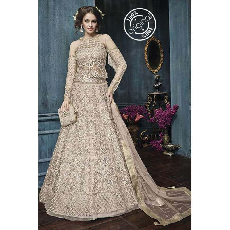 9d3988a646 22003-B BEIGE ZOYA CELEBRITY HEAVY EMBROIDERED INDIAN BRIDAL WEDDING LEHENGA