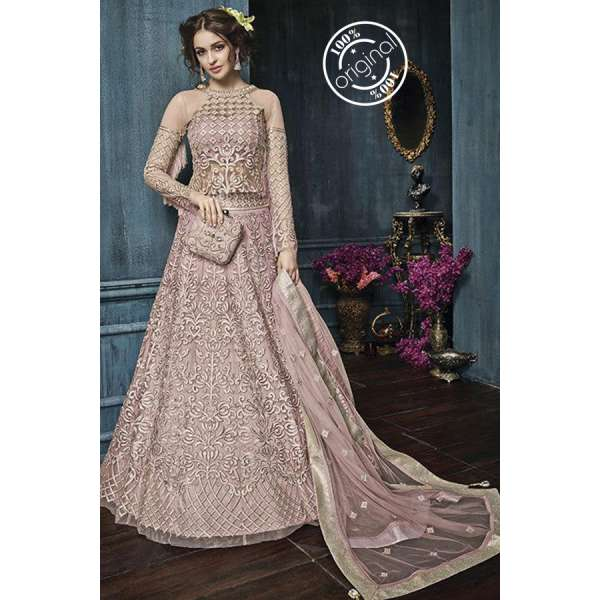 4e1916880 22003-C PINK ZOYA CELEBRITY HEAVY EMBROIDERED INDIAN BRIDAL WEDDING LEHENGA