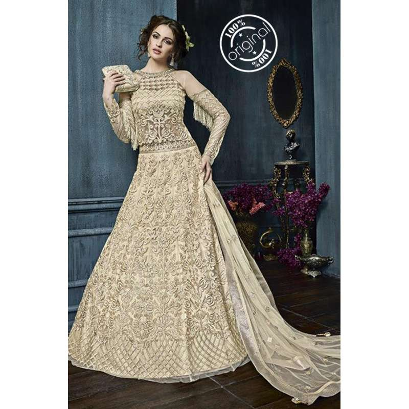 698b27bdc2 22003-D BEIGE ZOYA CELEBRITY HEAVY EMBROIDERED INDIAN BRIDAL WEDDING LEHENGA