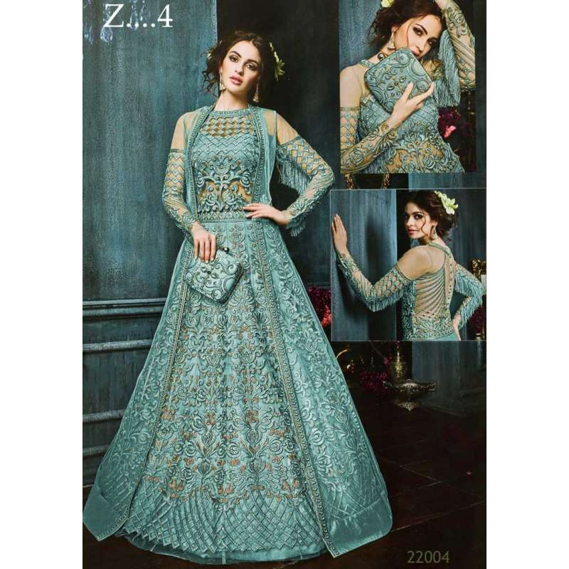 ffec88ada421 22003-d turquoise heavy embroidered indian bridal wedding lehenga