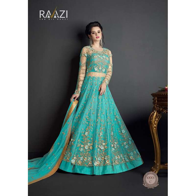 a9ebde35a34801 TURQUOISE HEAVY EMBROIDERED INDIAN WEDDING GOWN