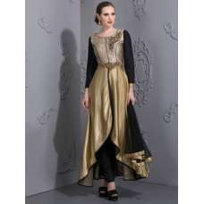 GOLD ASYMMETETRICAL DRESS WITH BLACK CONTRAST
