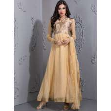 GOLD BROCADE BODICE READYMADE FLAIR ANARKALI SUIT