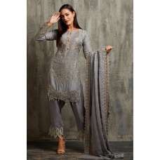 ASH GREY PAKISTANI STYLE EMBROIDERED READYMADE SALWAR SUIT