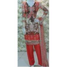 Coral Grey Pakistani Lawn Readymade Suit