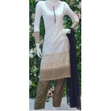 WHITE LINEN & GEORGETTE READYMADE PAKISTANI SALWAR SUIT