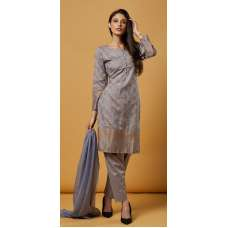 SLEET GREY BROCADE PRINTED ETHNIC SALWAR SUIT
