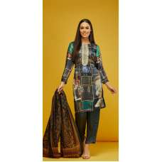 Grey Silk Printed Indian Salwar Kameez